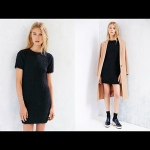 Body-Con Fuzzy Knit Mini Little Black Dress XS